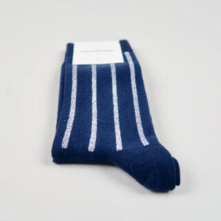Men's Socks - Latitude Striped - Navy/Clear White/Light Blue