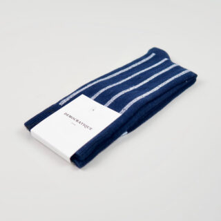 Men's Socks - Latitude Striped - Navy/Clear White/Light Blue