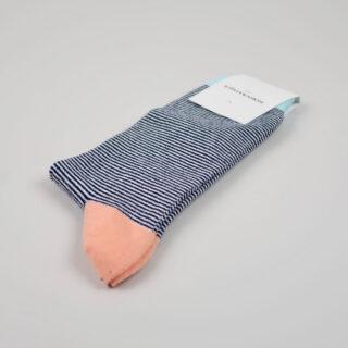 Men's Socks - Ultralight Stripes - Navy/Off White/Light Salmon/Poolside Green