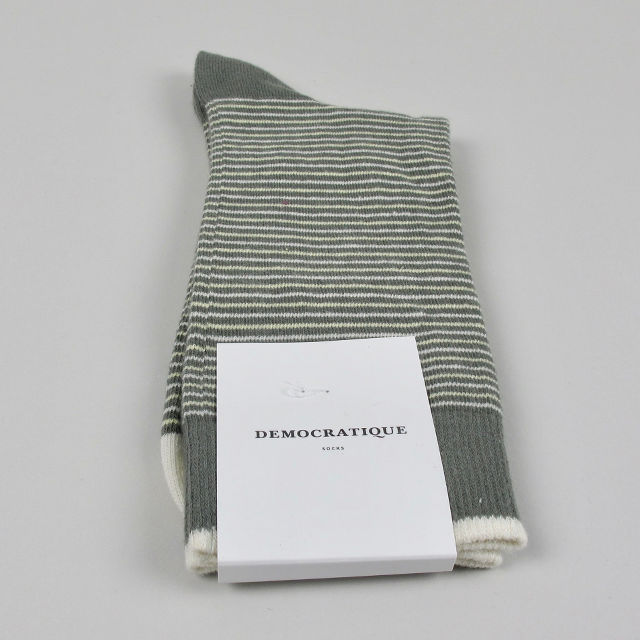 Men's Socks - Mini Stripes - Army/Pale Yellow/Off White