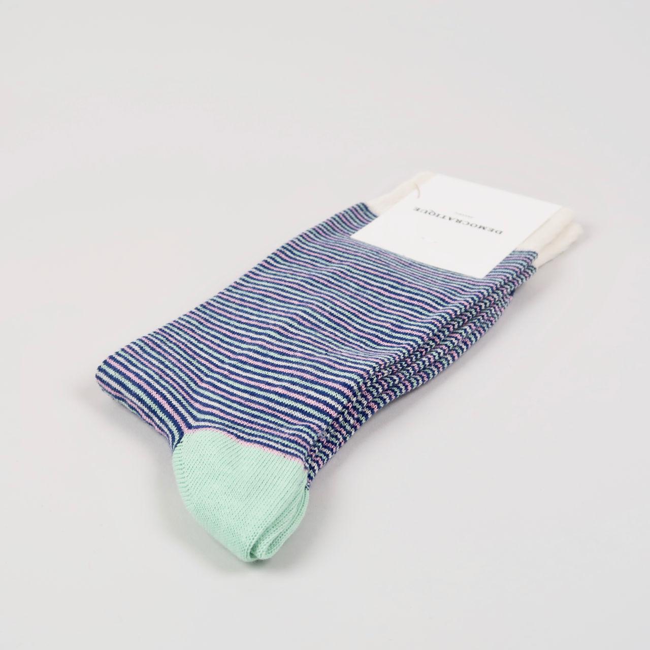 Mens Socks - Ultralight Stripe - New Blue, Off White, Pale Green, Soft Pink