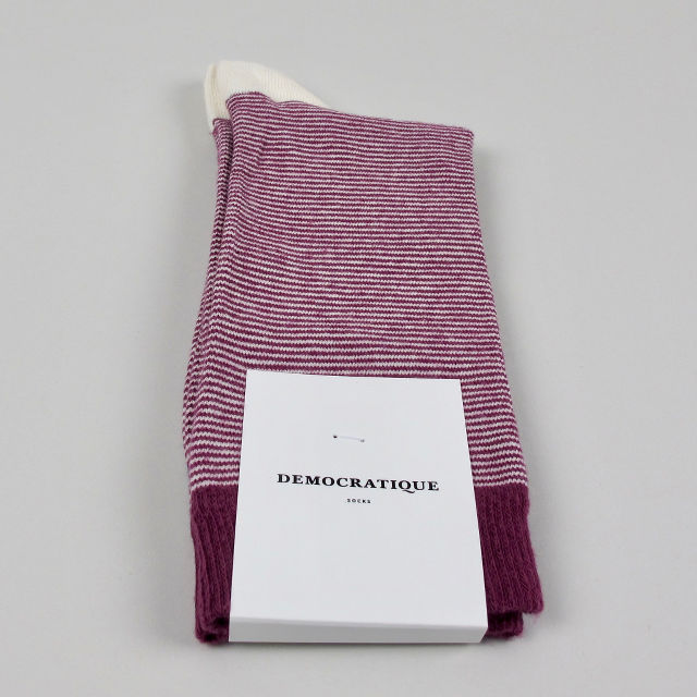 Men's Socks - Ultralight Stripes - Wild Berry/Off White/Shaded Blue