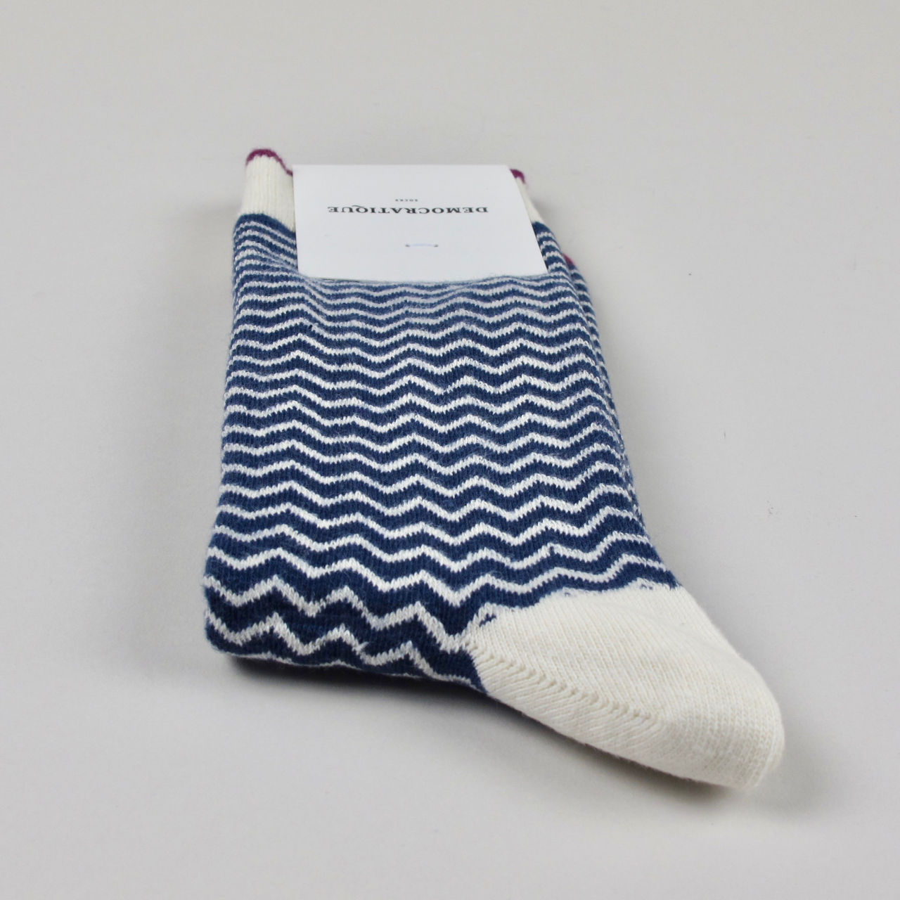 Men's Socks - Zigger Zagger - Shaded Blue/Off White/ Wild Berry