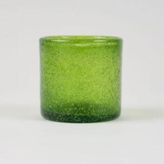 Set of 6 Coloured Glass Tea Lights - Olive