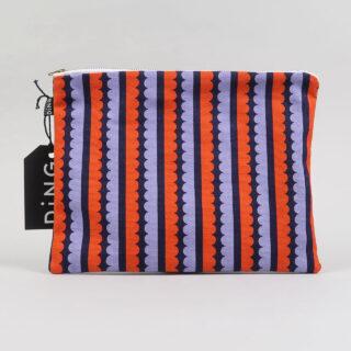 Scallop Design Cotton Pouch - Navy