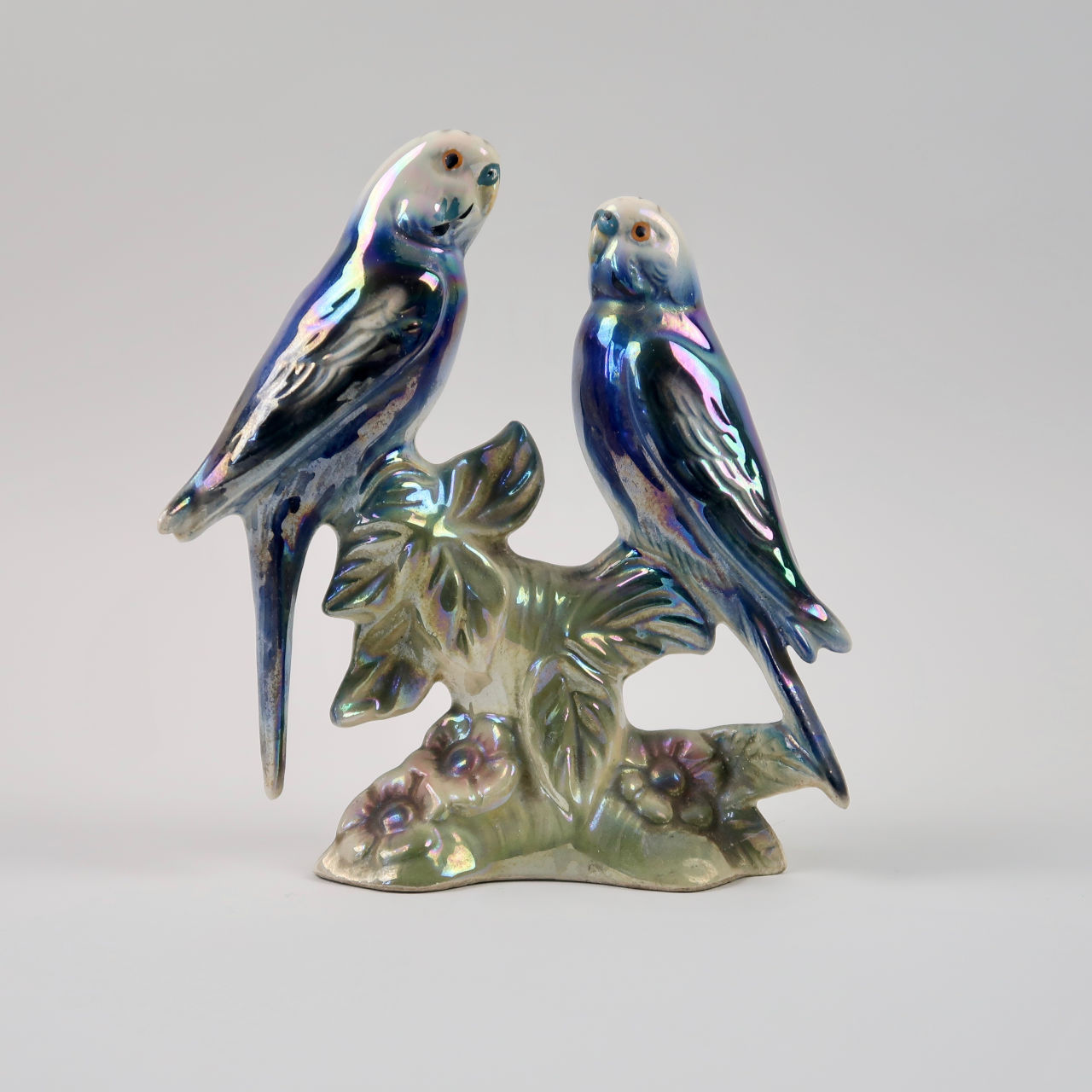 Vintage Lustre Ornament of Budgerigars by Jema Holland