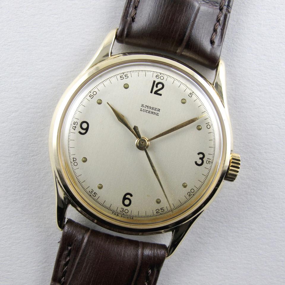 E. Moser gold vintage wristwatch, circa 1945