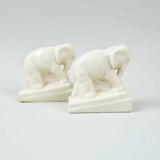 Pair of Ceramic Elephant Form Book Ends