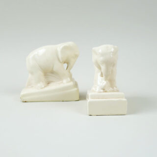 Pair of Ceramic Elephant Form Book Ends