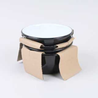 Box of 4 Small Enamel Bowls - Black