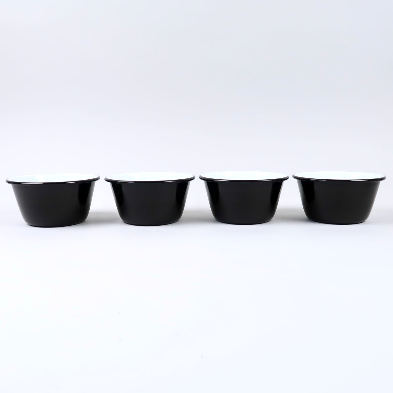 Box of 4 Small Enamel Bowls - Black