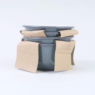 Box of 4 Small Enamel Bowls - Grey