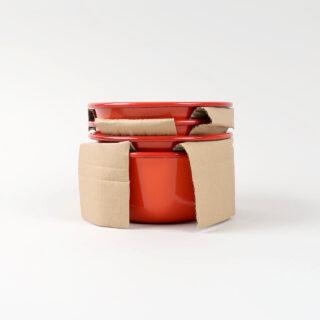 Box of 4 Small Enamel Bowls - Pillarbox Red