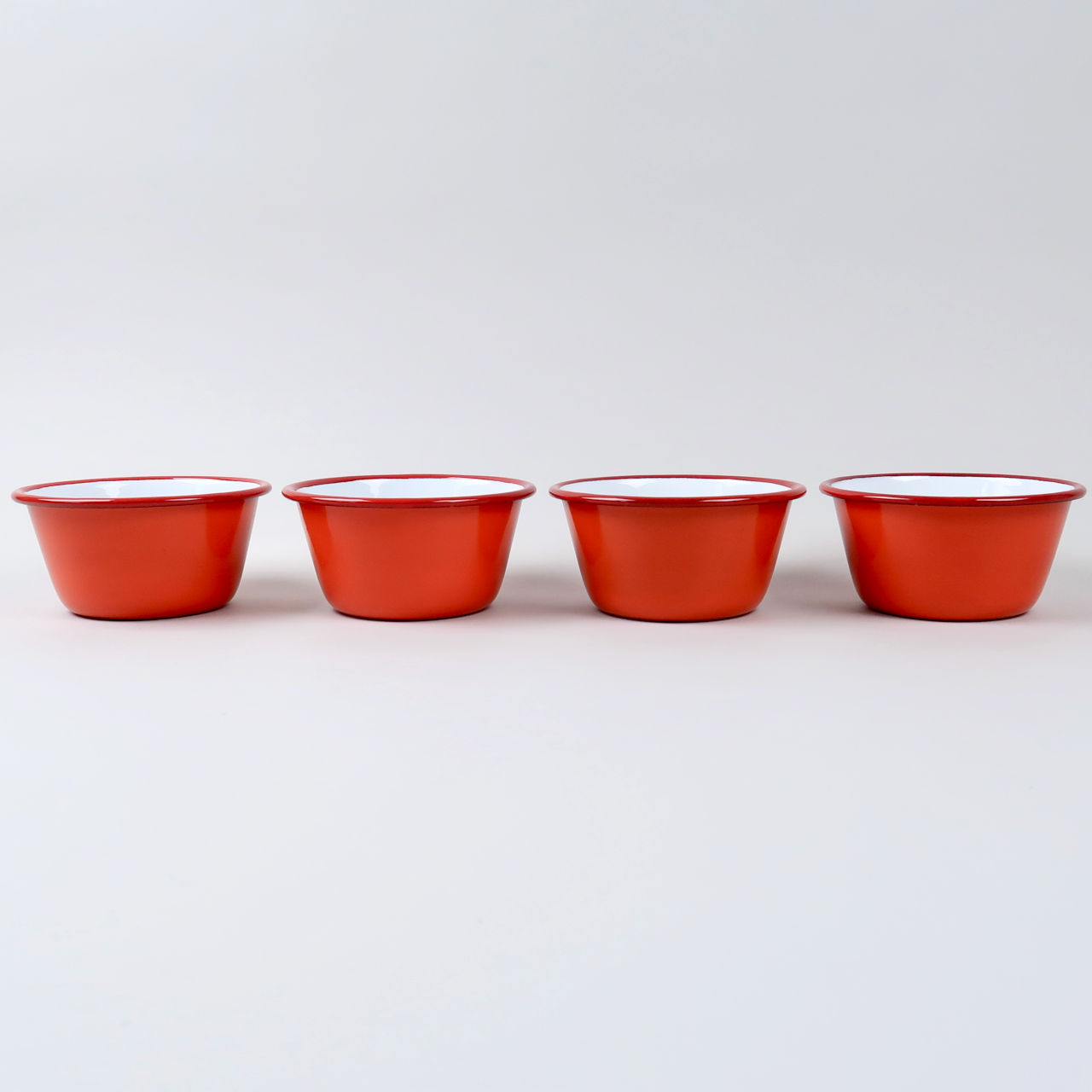Box of 4 Small Enamel Bowls - Pillarbox Red