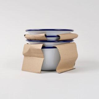 Box of 4 Small Enamel Bowls - White