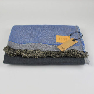 Blue Colour Block Throw