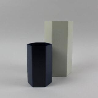 Hexagonal Metal Vase - Grey