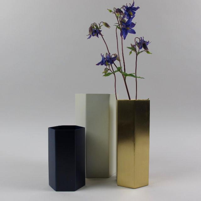 Hexagonal metal vase blue black bough ludlow for Ferm living vase