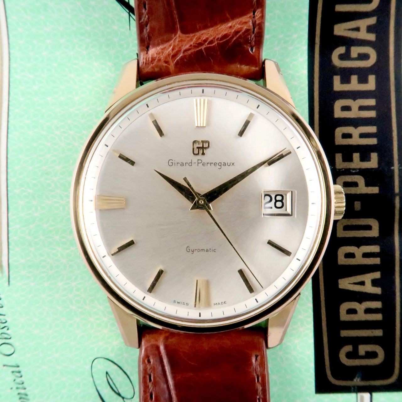 Girard-Perregaux Gyromatic gold plated & steel vintage wristwatch, circa 1968