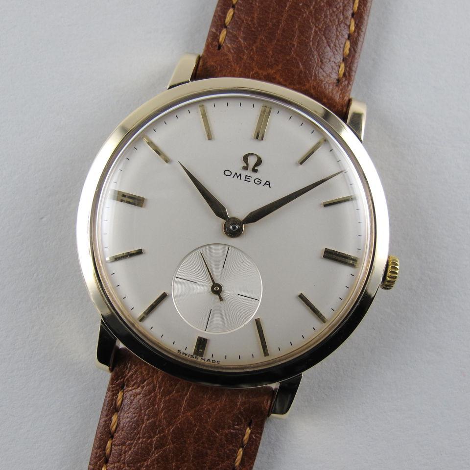 Gold omega vintage wristwatch hallmarked 1960 black bough ludlow for Omega watch vintage