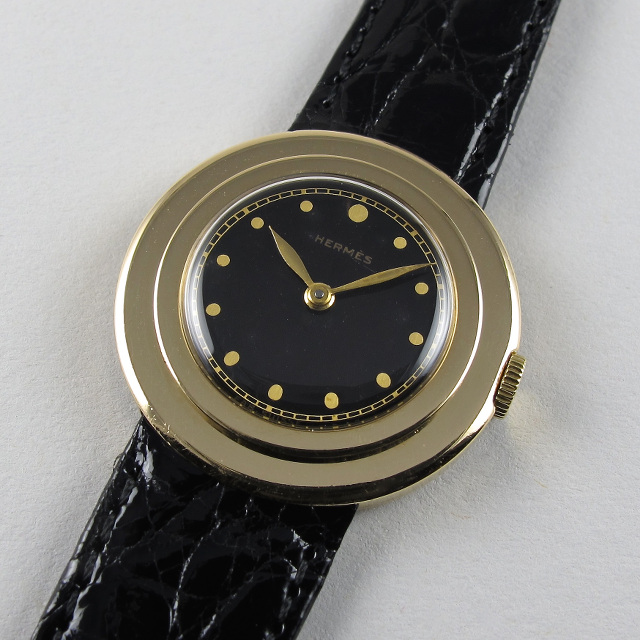 """Gold Universal Genève retailed by Hermès Paris, """"Prince"""", vintage wristwatch, circa 1935"""
