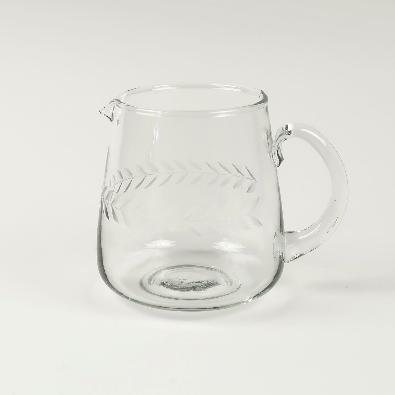 Glass Jug with Laurel Leaf Design