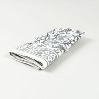 Block Printed Cotton Napkin - Kandia Grey