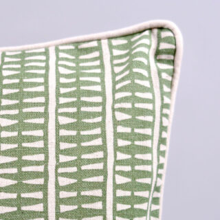 Rectangular 'Lima' Cushion - Olive with Ecru Piping
