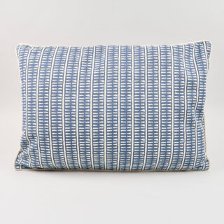 Rectangular 'Lima' Cushion - Indigo with Ecru Piping