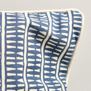 Rectangular 'Lima' Cushion - Indigo with Ecru Piping