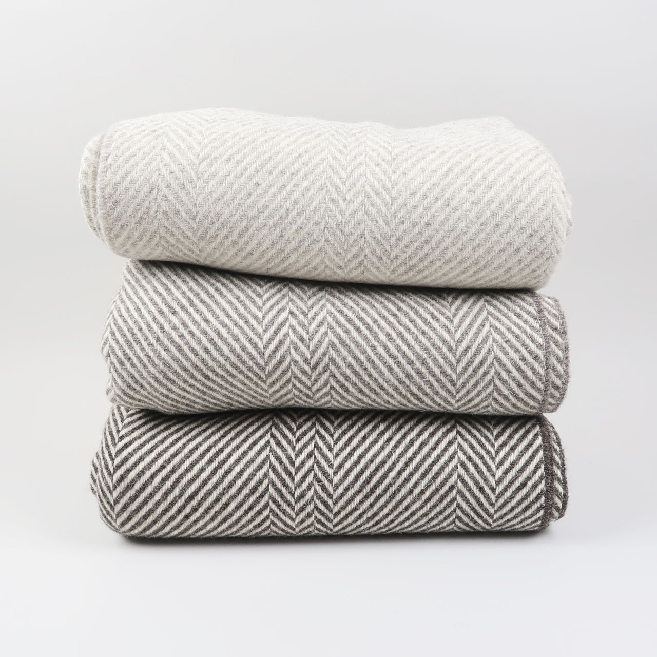 Jacob Wool Thick Chevron Weave Blanket, woven in Scotland by Greengrove Weavers