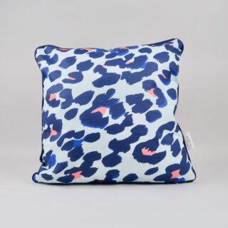 Blue Leopard Print Cushion