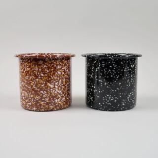 Enamel Herb Pot - Sprinkle Brown