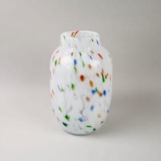 Hand Blown Splash Vase - White Dot