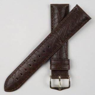 Hirsch Camelgrain lightly textured dark brown wristwatch strap