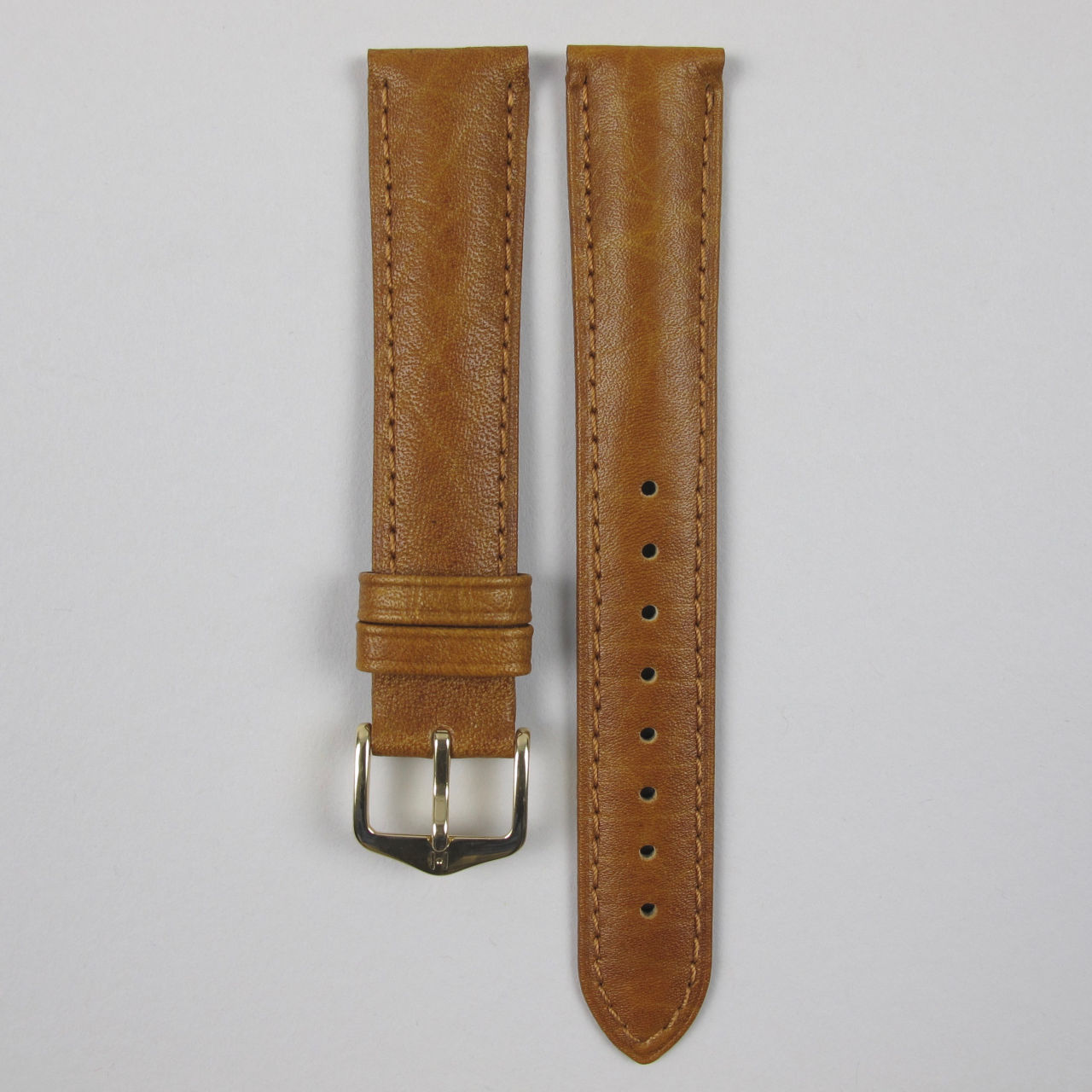 Hirsch Camelgrain honey coloured lightly textured wristwatch strap