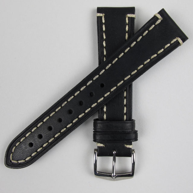 Chunky calf Hirsch 'Liberty' leather wristwatch strap
