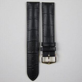 Hirsch 'Duke' black calf leather watch strap with alligator grain finish 12mm-22mm