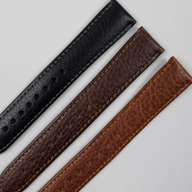 Calf leather Hirsch 'Forest' wristwatch strap with lightly textured finish