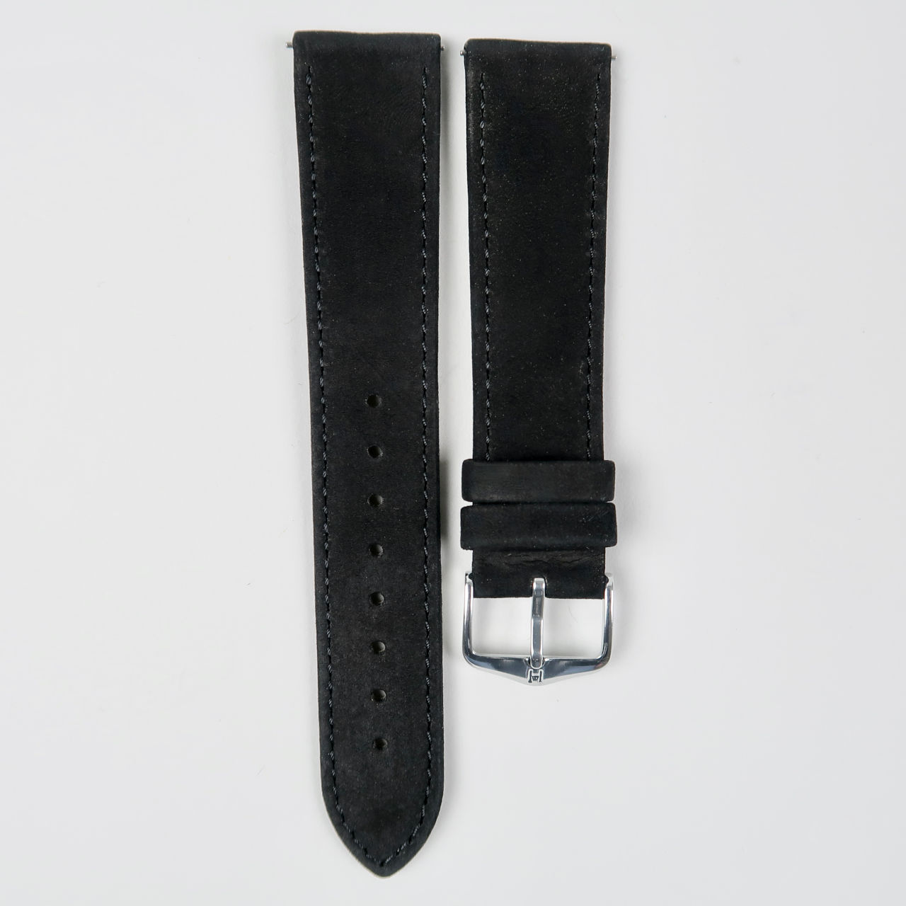 Hirsch Osiris Nubuk black suede finished leather watch straps