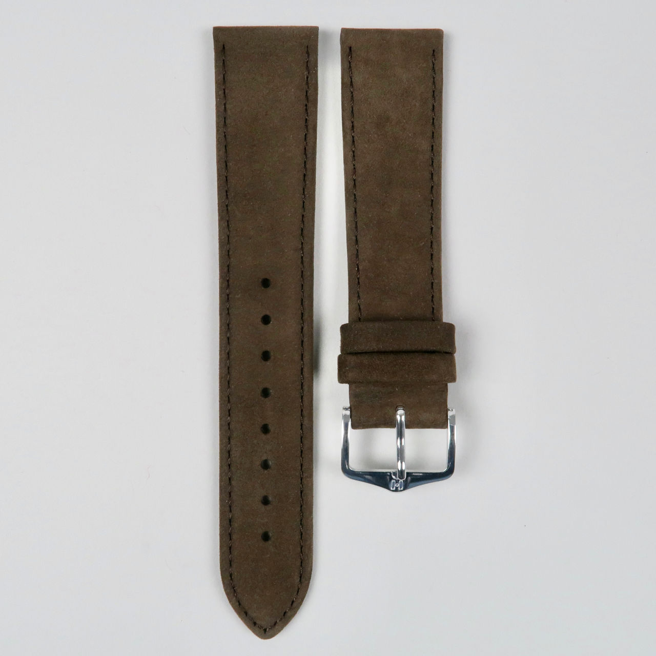 Hirsch Osiris Nubuk dark brown suede leather watch straps