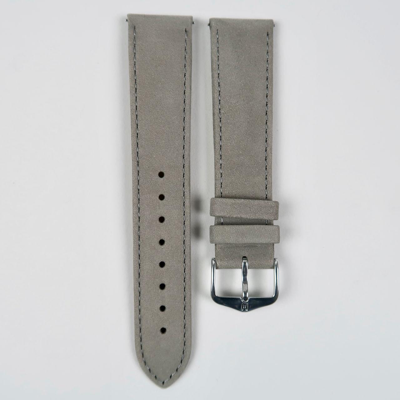Hirsch Osiris Nubuk grey suede finished leather watch straps
