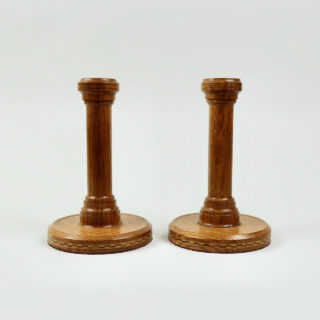 Pair of Turned Wooden Inlaid Candlesticks