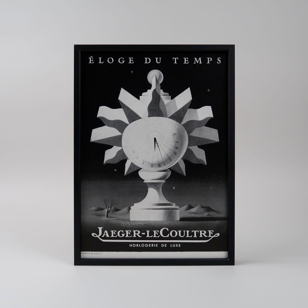 Jaeger-LeCoultre 'Éloge Du Temps' vintage framed advertisement 1946