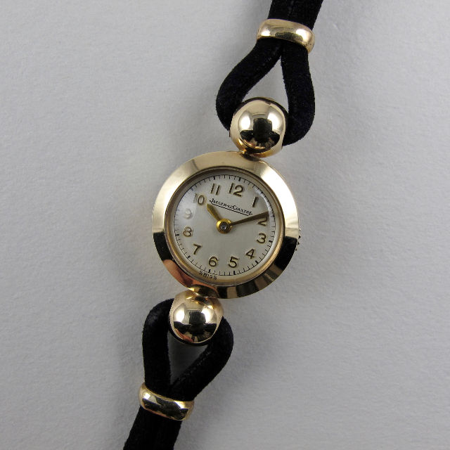 Jaeger-LeCoultre cal.496 gold vintage wristwatch, hallmarked 1958