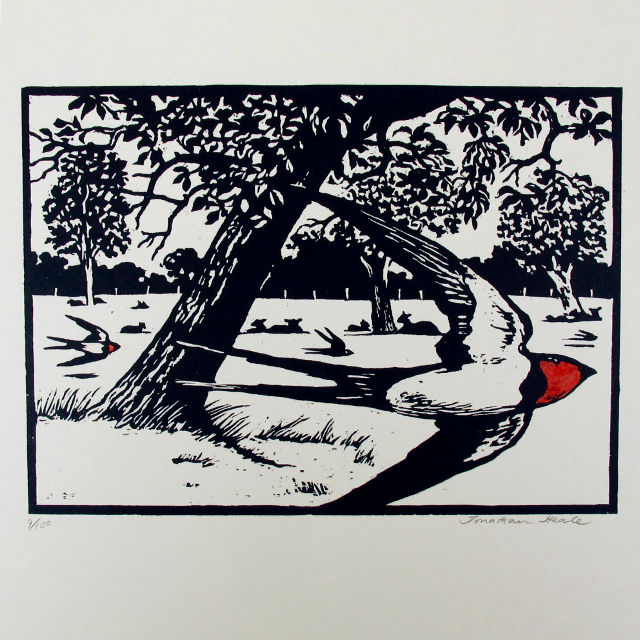 Woodcut by Jonathan Heale - Swallows and Lambs (I)