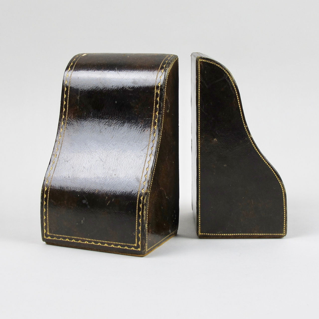 Pair of Moroccan Leather Bound Book Ends
