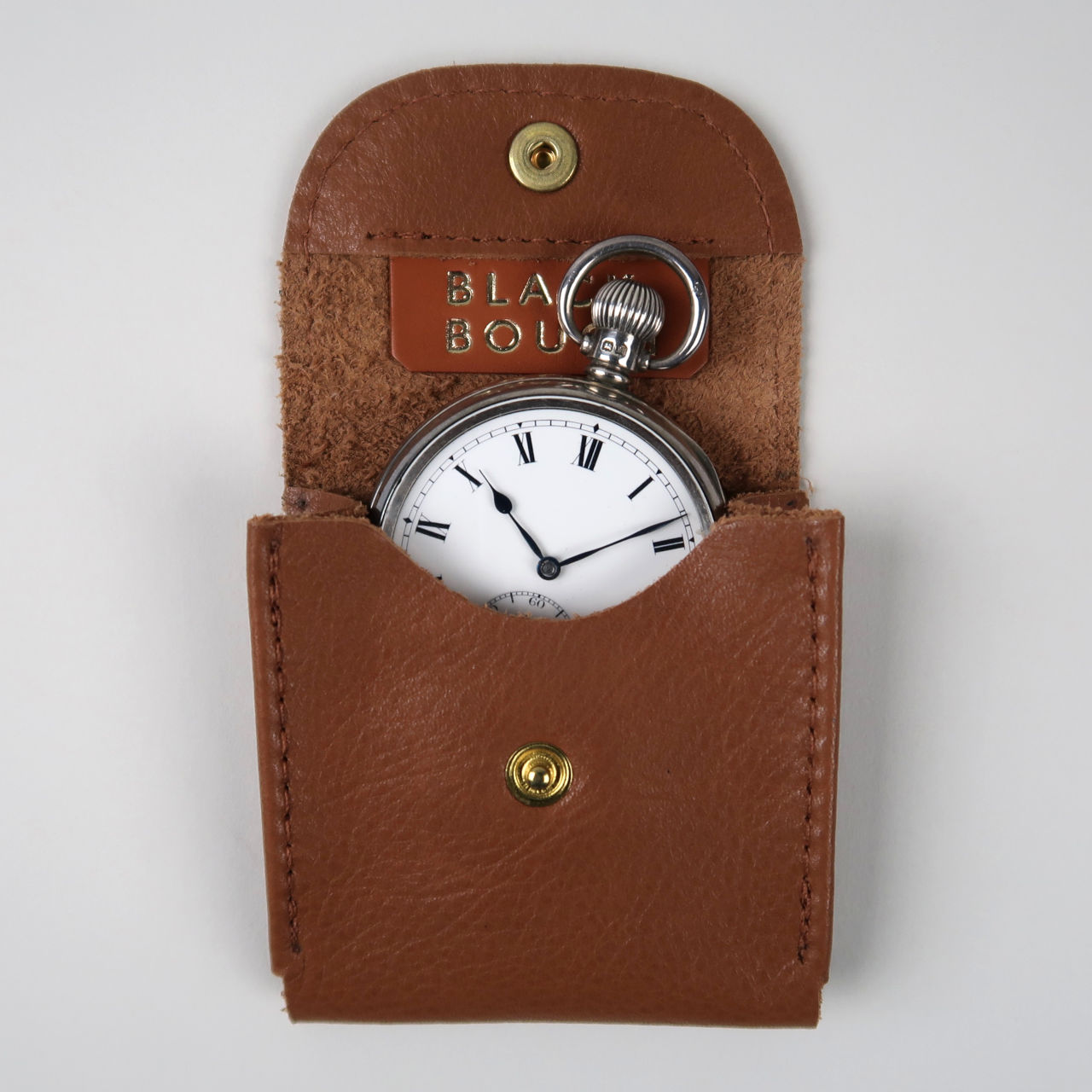 Tan leather pocket watch pouch