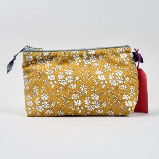 Liberty Print Fabric Cosmetic Bag - Capel Mustard