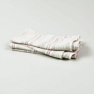 Oatmeal Ruby Multi Stripe 100% Linen Napkins - handmade in Ludlow